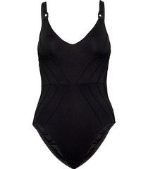 pintucked maillot baddräkt badkläder svart seafolly