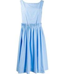 marni gathered waist sun dress - blue