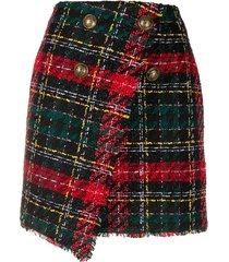 balmain asymmtetric tweed skirt - black