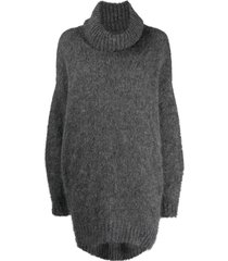 isabel marant roll neck jumper dress - grey
