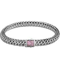 classic chain' birthstone tourmaline sapphire sterling silver bracelet - october