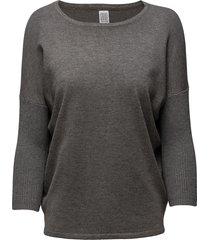 knit blouse w rib sl stickad tröja grå saint tropez