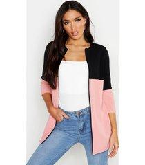 lichte duster jas met contrasterend paneel, zwart