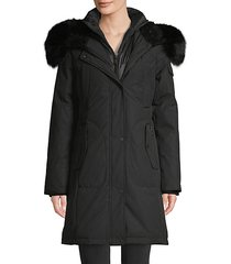 fox fur-trim down parka coat