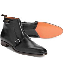 handmade double monk ankle shoes, black dress formal leather boots fashion boots