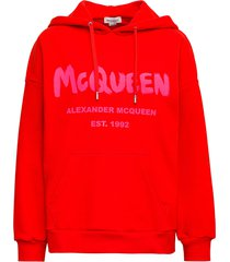 alexander mcqueen red cotton hoodie with graffiti print