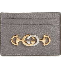 women's gucci463 leather card case - grey