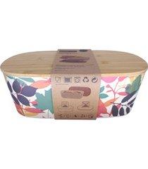 porta pão em fibra de bambu com tampa colorido