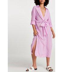 river island womens purple longline tie shirt dress