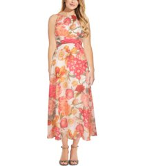 adrianna papell printed tie-back dress
