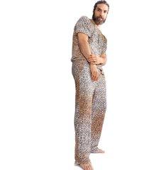 pijama thais gusmão longo leopardo bege