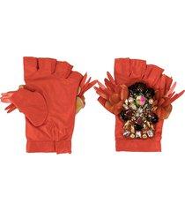 biyan embellished padded gloves - orange