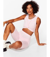 womens you've knot a nerve top and biker shorts set - pink
