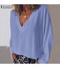 zanzea mujeres camiseta de manga larga con cuello en v camiseta top tee sólido llano básico de la blusa nuevo -azul