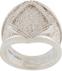 bottega veneta chunky chevalier ring - silver