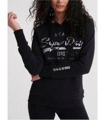superdry women's vintage-like logo photo rose loopback hoodie