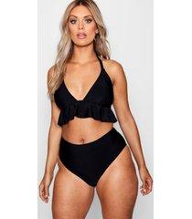 plus bikini met geplooide underbuste en hoge taille, black