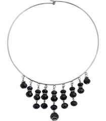 2028 women's silver tone multiple drop black lux necklace