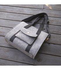 designerska torba z filcu - szara - kieszeń