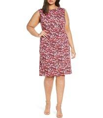 plus size women's nic+zoe bright burst twist jersey dress, size 3x - pink