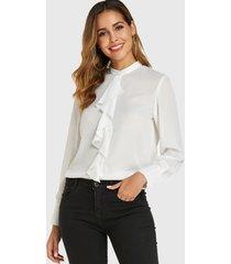 yoins botón de cuello alto blanco diseño blusa de manga larga