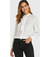 blusa de manga larga con diseño de botones de cuello alto blanco yoins