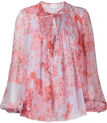 giambattista valli poppy-print chiffon blouse - purple