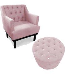 combo poltrona decorativa classica capitone com puff strass pés madeira suede rosa