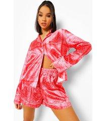 satijnen bandana print pyjama set met shorts, red