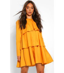 cotton long sleeve tiered swing dress, mustard
