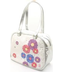 bolso plata - estampado flores pink girls