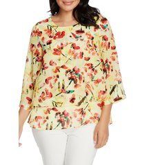 women's chaus abstract tulip tiered blouse, size small - yellow