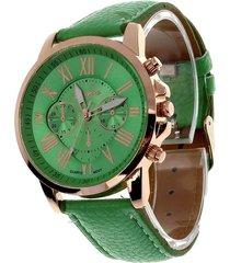 reloj para mujer analogo numeros romanos verde claro