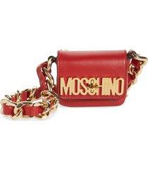 moschino mini leather crossbody bag - red
