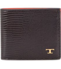 tod's lizard skin-effect two-toned wallet - brown