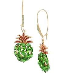betsey johnson stone pineapple long drop earrings in gold-tone metal, 3""