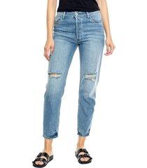 high waist straight jeans tono medio con botonadura interna + rotos color blue