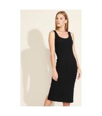 vestido feminino midi com fenda alça larga decote redondo preto
