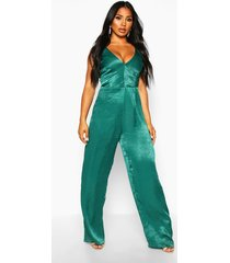 velvet satin plunge wide leg jumpsuit, emerald