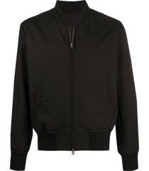 ami paris zip-up bomber jacket - black