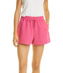women's ganni software isoli logo recycled knit sweat shorts, size x-large - pink