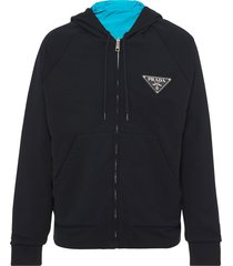 prada reversible logo patch hoodie - black
