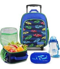 conjunto mochila com rodinhas p, lancheira térmica, pote e squeeze menino jacki design azul marinho