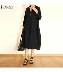 zanzea las mujeres con cuello en v botones gira el collar abajo camisa de vestir de gran tamaño más el tamaño de vestido de midi -negro