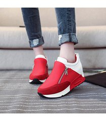 zapatillas casuales de cuña con plataforma lifeenjoy lay7182179 para mujer-rojo