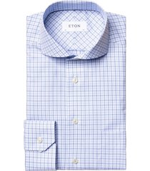 blauw geruit overhemd eton classic fit
