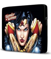 capa para notebook mulher maravilha 15 polegadas - preto - feminino - dafiti