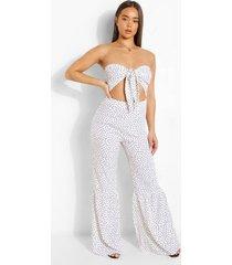 strapless jumpsuit met stippen en wijde pijpen, white