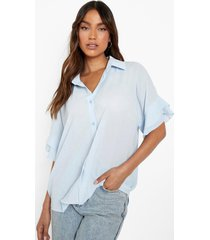 blouse met geplooide mouwen, pale blue