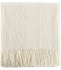 """battilo home woven raised zigzag, chain patterns and tasseled end throw, 50"""" x 60"""" bedding"""